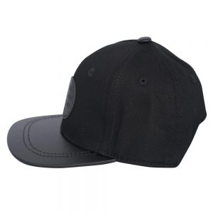 Side view of black renegade baseball cap