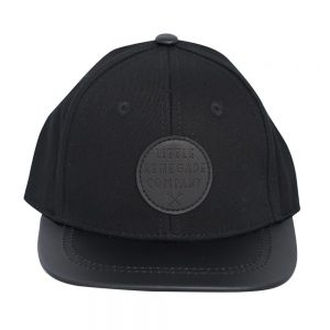 Front view of black renegade baseball cap on white background