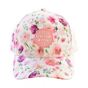 Front view garden print pink renegade baseball cap on white