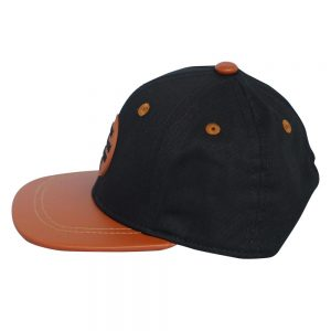 Side view of black and orange renegade baseball cap on white