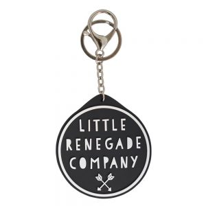 Black and white round logo keyring for Little Renegade Company