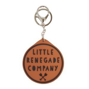 Round tan logo keyring for Little Renegade Company