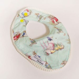 Leak proof dribble bib in Peter Rabbit pattern with short lace