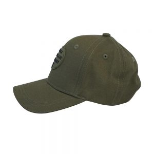 Side view of pine green renegade baseball cap on white