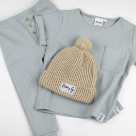 Bobby G beanie and light grey cotton shirt and pants set