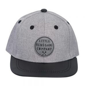 Front view of grey and black renegade baseball cap on white background