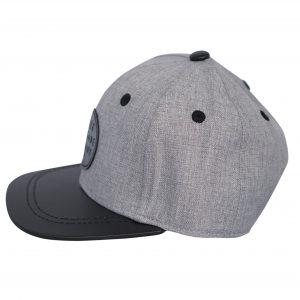 Side view of grey and black renegade baseball cap