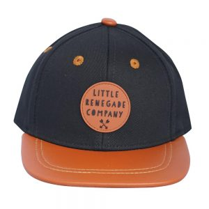 Front view of black and orange renegade baseball cap on white
