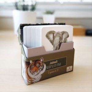 Open box of Snap & go fish animal cards sitting on a table showing an elephant