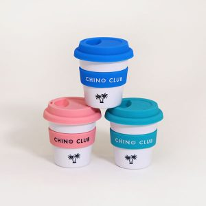 Reusable baby chino cups in pink, aqua and blue, stacked