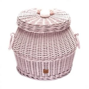 Wicker Hamper in dusty pink with pom poms