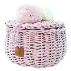Wicker Basket in dusty pink with pom poms