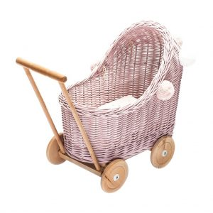 Wicker Dolls pram in dusty pink