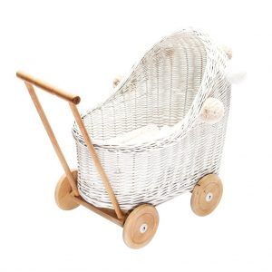 Wicker Dolls Pram in white and natural timber