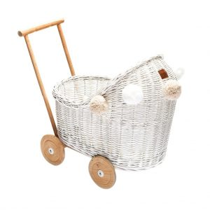 Wicker dolls pram in white with pom poms