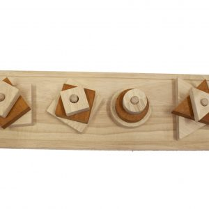 Shape sorter made from natural timber