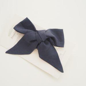 Navy linen bow headband