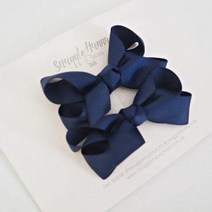 Navy Clip Bow pair