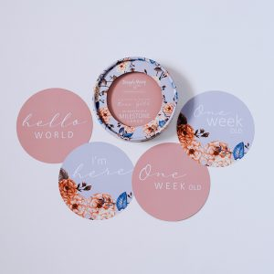 Milestone Cards in rose gold and vintage blossom