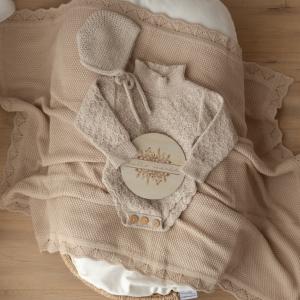 Vintage Inspired blanket it caramel on baby bed
