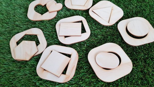close up of shape matching puzzle.