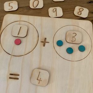 Double sided maths board showing an equation with counters.