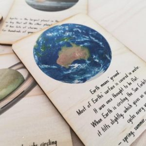 Outer space cards showing earth and some interesting facts.