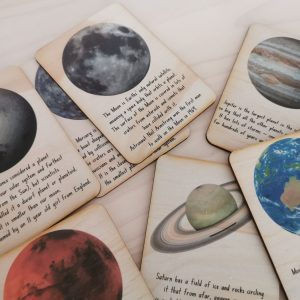 Timber Space cards introducing different planets