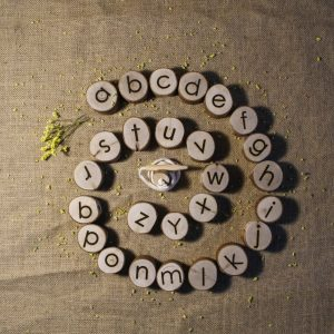 Alphabet threading letters curled around in a spiral