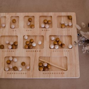 Double sided counting board with small balls for counting