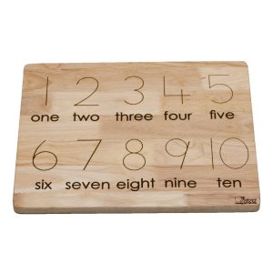 second side of counting board with numbers and words