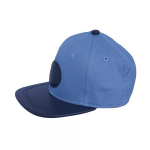 Side view of Mid blue Atlantis Cap with navy peak