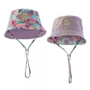 Pastel Posies reversible bucket hat with lilac reverse