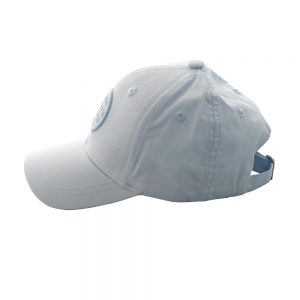 Side view of sky baseball cap in baby blue