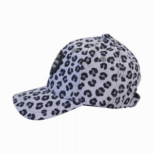 Side view of snow leopard baseball cap