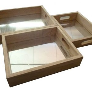 Set of 3 Mirror trays laying next to each other