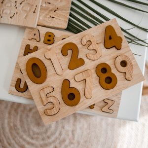 number puzzle in natural timber with numbers 0-9
