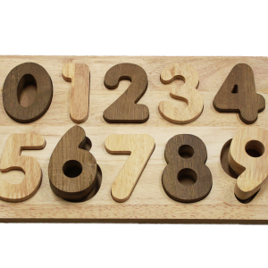 number puzzle in natural timber on white background