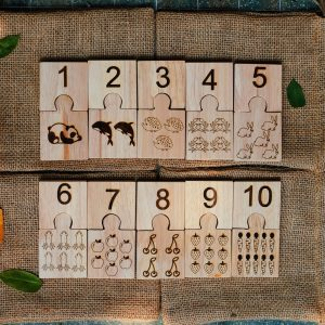 Number jigsaw set up with numbers 1-10