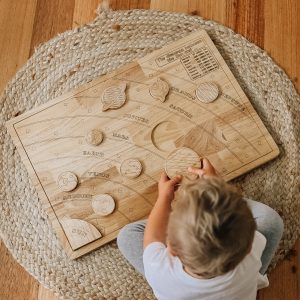 Solar System learning kit with little boy playing on the floor
