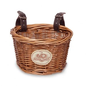 Wicker bike basket with leather straps